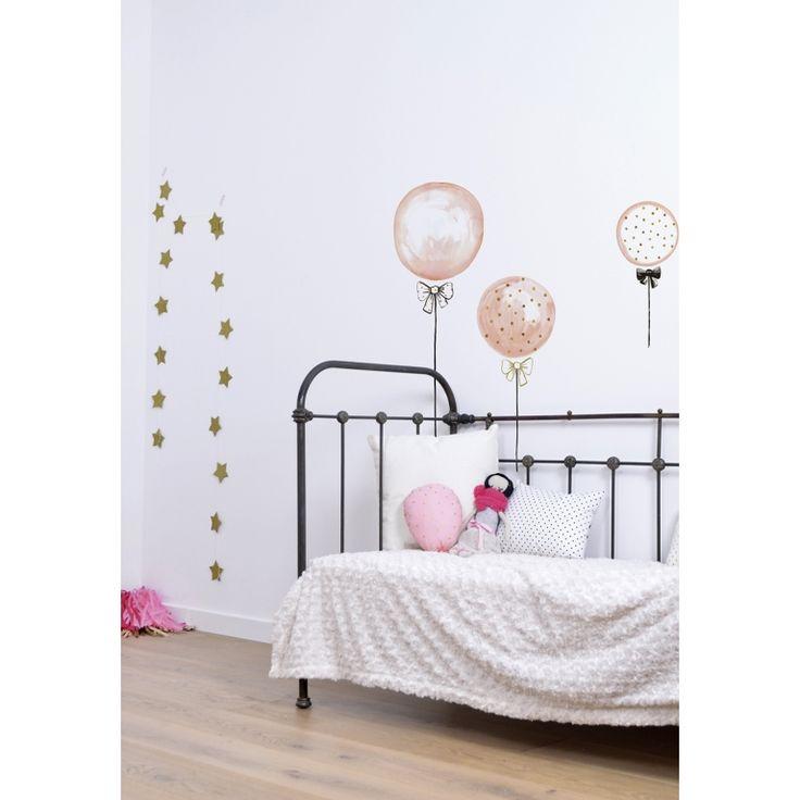 New XL Wandtattoo uLuftballons u puderrosa gold schwarz cm