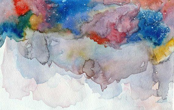 Acquerello astratto di una galassia in blu viola e di MarMusArt