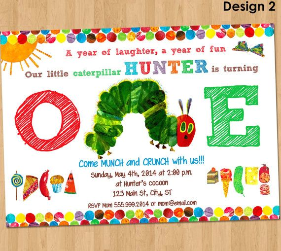 236 best Partys Ideas images – Hungry Caterpillar Birthday Card