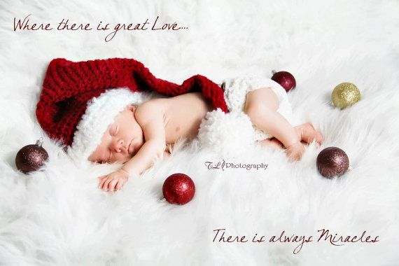 Photography props newborn Christmas hat And diaper cover you pick the colors and size on Etsy, $46.00