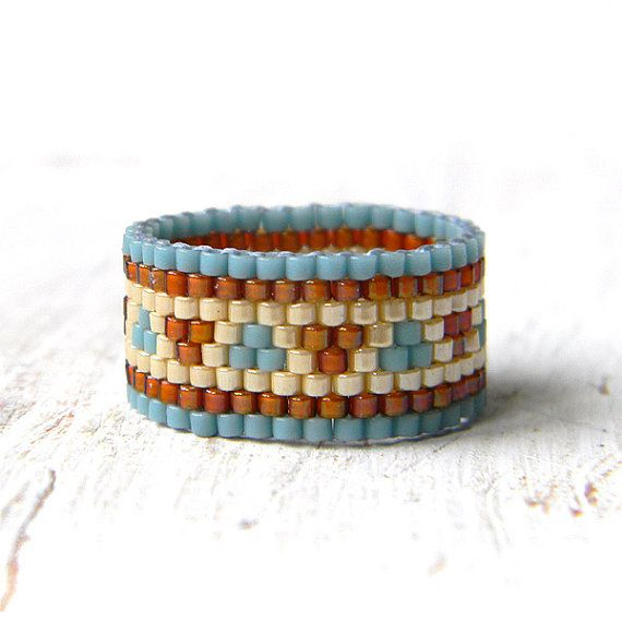 Ethnic beaded ring women band ring peyote ring by Anabel27shop