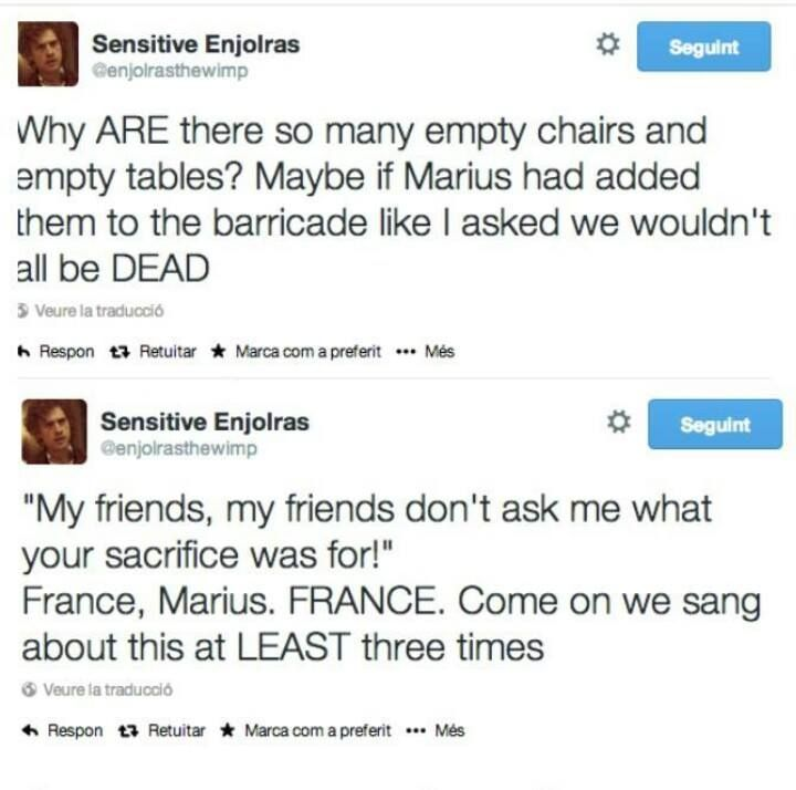 I want a twitter just to follow Sensitive Enjolras