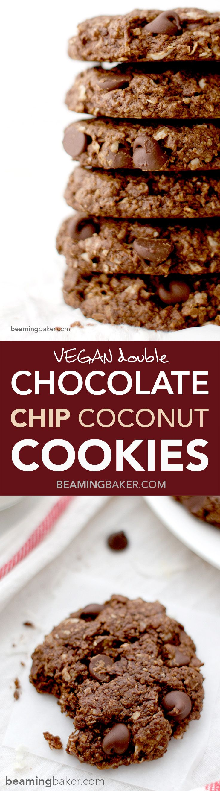 Rich, chewy & indulgent Double Chocolate Chip Coconut Cookies. A simple, vegan, GF recipe for twice the chocolate plus coconut oil, coconut sugar and coconut shreds! BeamingBaker.com #Vegan #GlutenFree