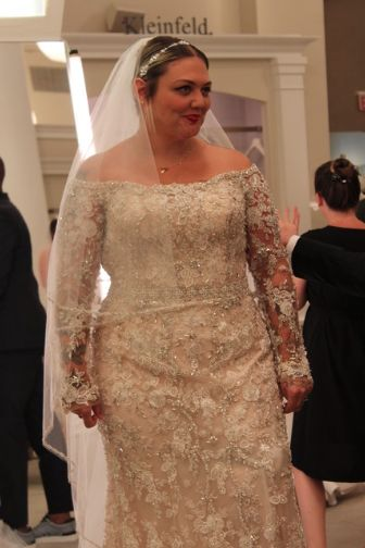 Season 15 Featured Dress: Stephen Yearick, blush color, beaded, off the shoulder gown. $4,900.