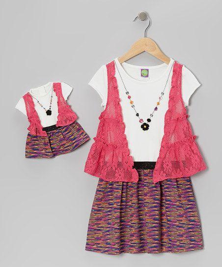 Fuchsia Flyaway Dress & Doll Outfit - Girls