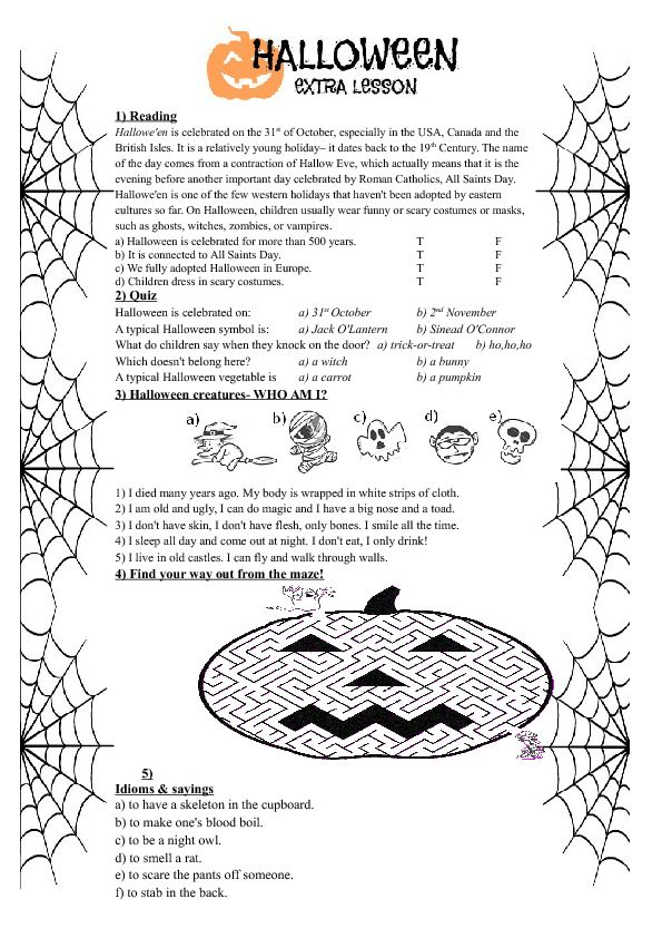 Printable Worksheets halloween esl worksheets : 10 best lesson images on Pinterest | Class activities, Classroom ...