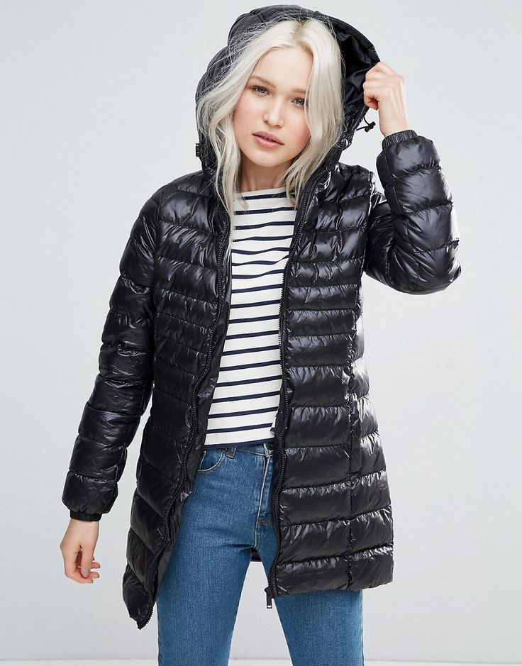 Brave Soul Hooded Padded Long Coat - Black