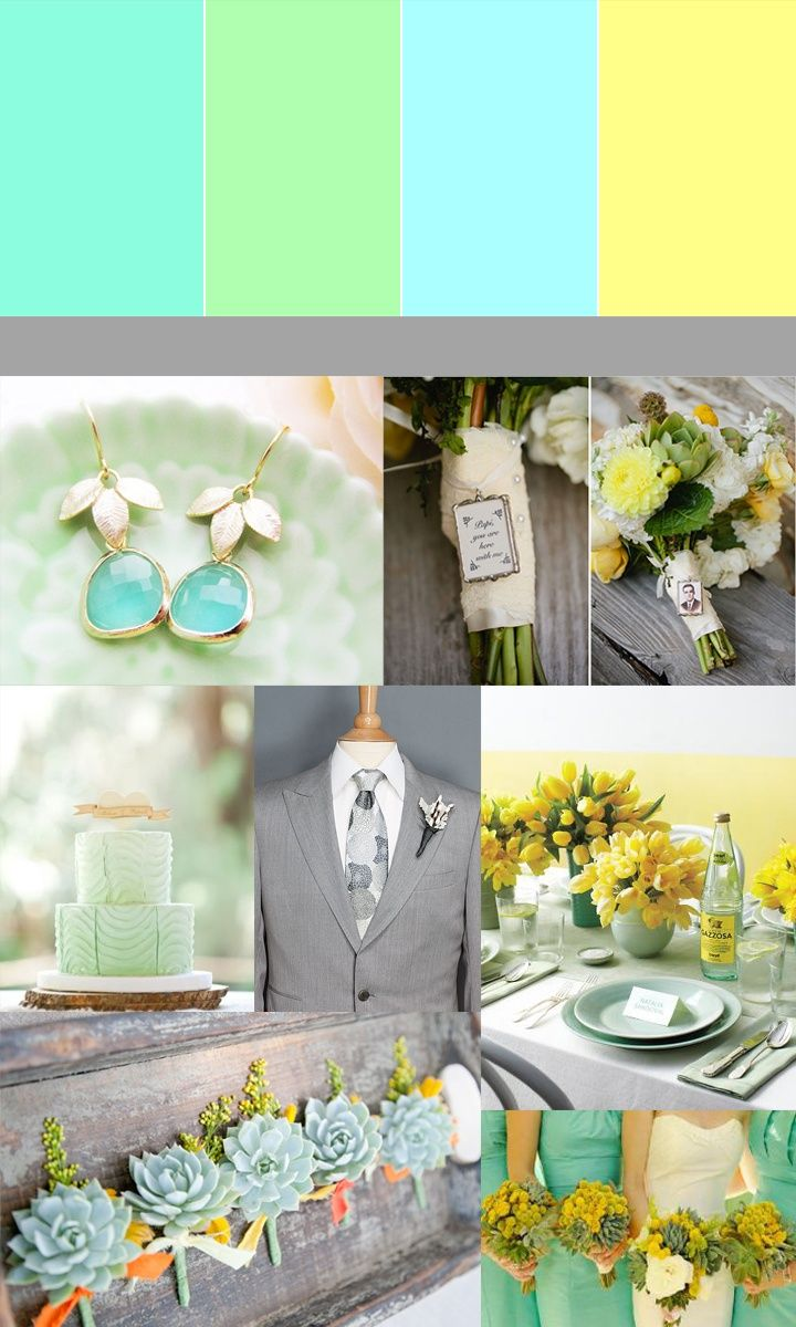 Color Story Mint Green Yellow Grey Wedding I Like The Hen And Chicks For Guys