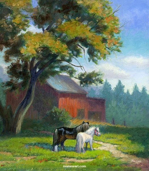 Lilliput Ponies -oil painting by Mia Lane