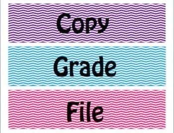 Chevron Copy, Grade, File Organizational Labels [Freebie] [TpT] [Great Store] [Chevron]
