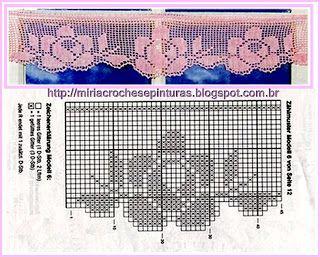 filet crochet border - MIRIA CROCHÊS E PINTURAS: BARRADOS DE CROCHÊ COM ROSAS