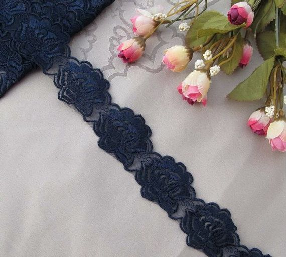 3 Yards Navy Blue Lace Trim Emborideried Rose Tule Lace 1.77 Inches Wide on Etsy, $4.25 CAD