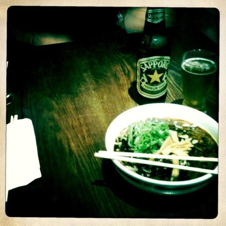 Black Garlic Ramen and Sapporo