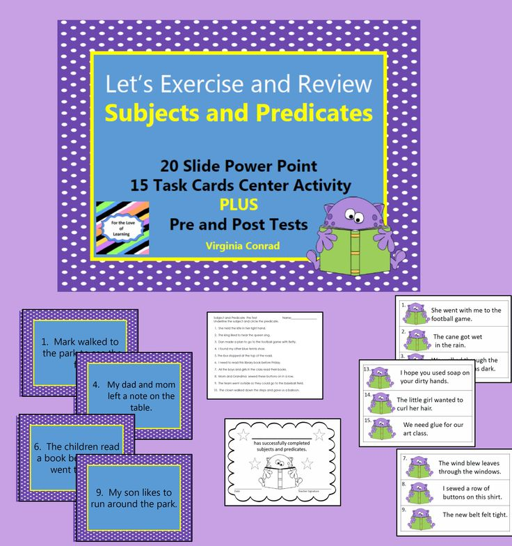 Great way to build in a little exercise as you teach or review subjects and predicates.