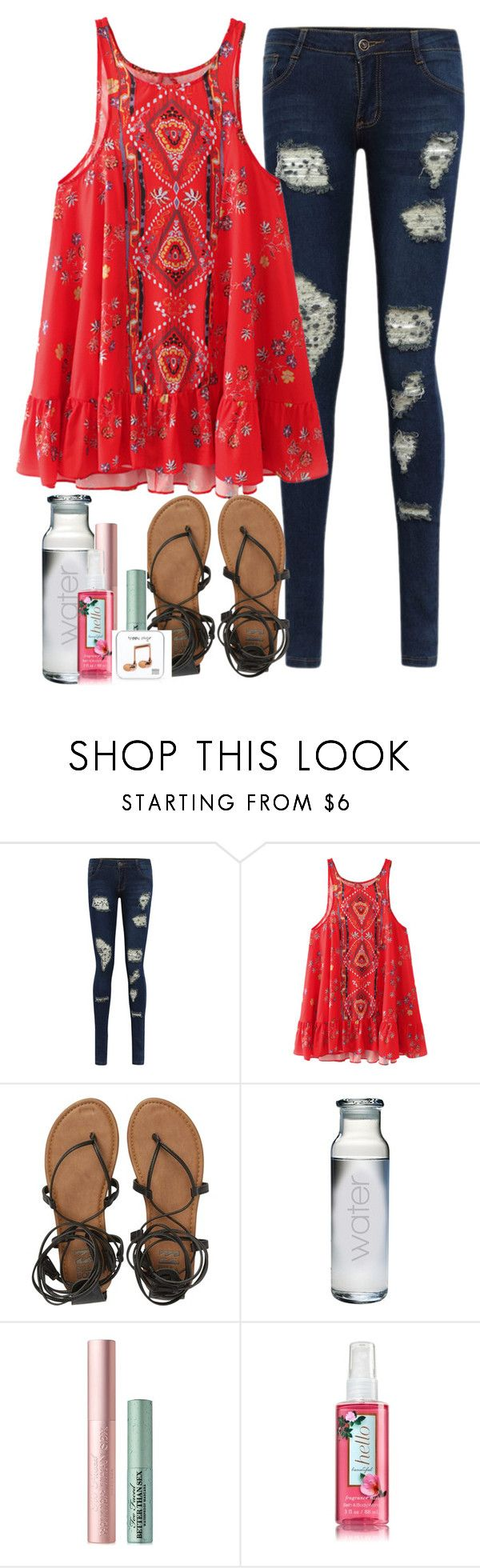 """Words are knives and often leave scars"" by labures on Polyvore featuring Billabong, Too Faced Cosmetics and Happy Plugs"