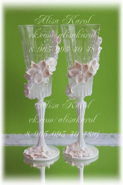 Wedding champagne glasses crystal glass Weding flutes hand made
