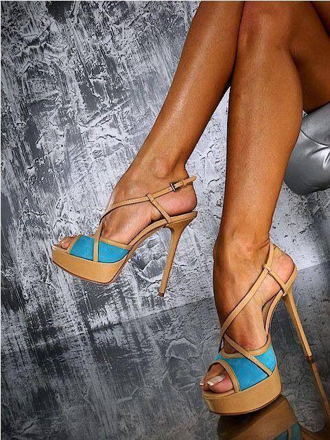 Blue  nude strappy heel.
