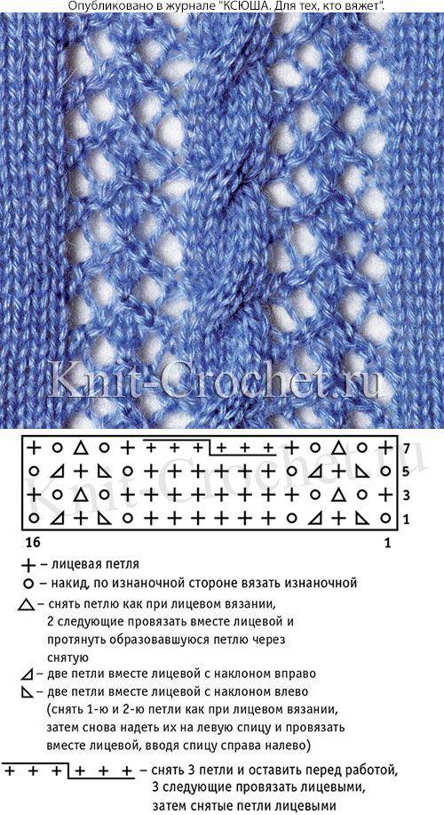 Ажурный узор со схемой и условными обозначениями для вязания спицами.