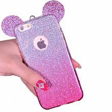Caseingood 3d minnie mickey mouse ouvidos telefone case para iphone 7 7 mais 6 6 s Plus 5 5S SE TPU Silicone Suave Brilho Gradiente cobrir(China (Mainland))