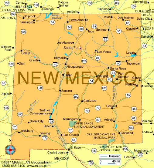 Map of New Mexico became a state on January 6, 1912.  It was the 47th state to join the union.  The capital is Santa Fe.
