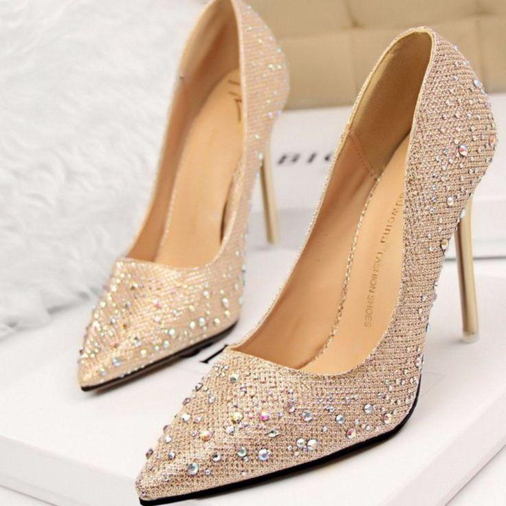 Elegant Pointed Toe Rinestones Women High Heels Shoes