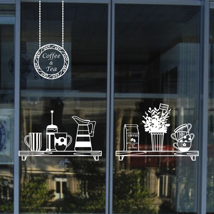 Cheap wall border sticker, Buy Quality wall stickers cars directly from China wall stickers sayings Suppliers: Xin Home Furnishing tea Coffee window glass tea cup restaurant dessert shop Coffee hall Korean decorative wall stickers