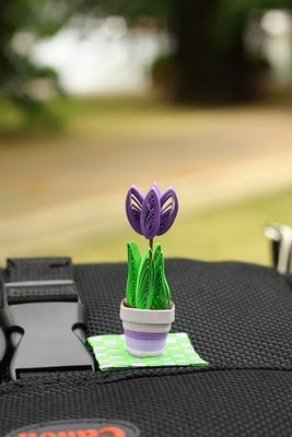 Quilled tulip in a pot #quilling