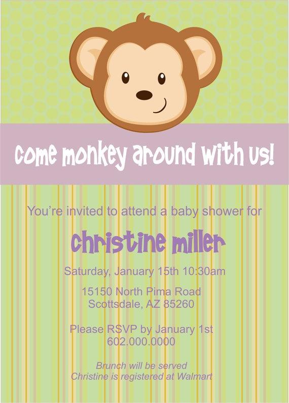 monkey baby shower invitations digital by on etsy