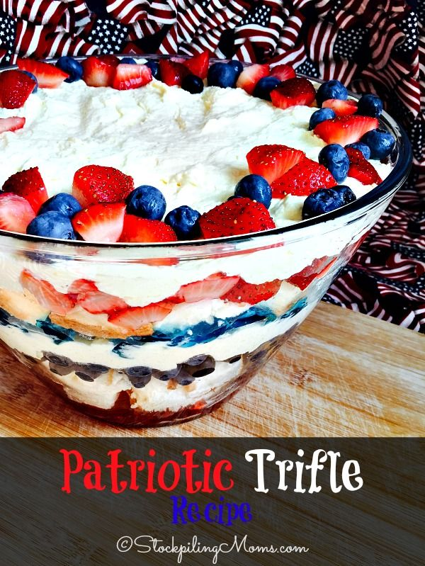 Patriotic Trifle Recipe is the perfect dessert for 4th of July, Memorial Day or any festive holiday!