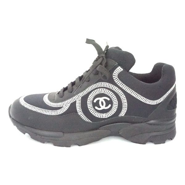 Pre-Owned Chanel Black Neoprene Rubber Logo Sneakers Sz 34.5 Tennis... (1,035 CAD) ❤ liked on Polyvore featuring shoes, sneakers, black, low top, black sneakers, black trainers, chanel trainers and black tennis shoes