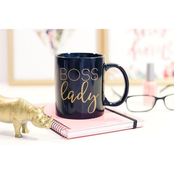 Boss Lady Coffee Mug Gold Coffee Cup Inspirational Mug Gift for Boss... ($10) ❤ liked on Polyvore featuring home, kitchen & dining, drinkware, drink & barware, home & living, mugs, silver, white mug, personalized mugs and gold coffee mug