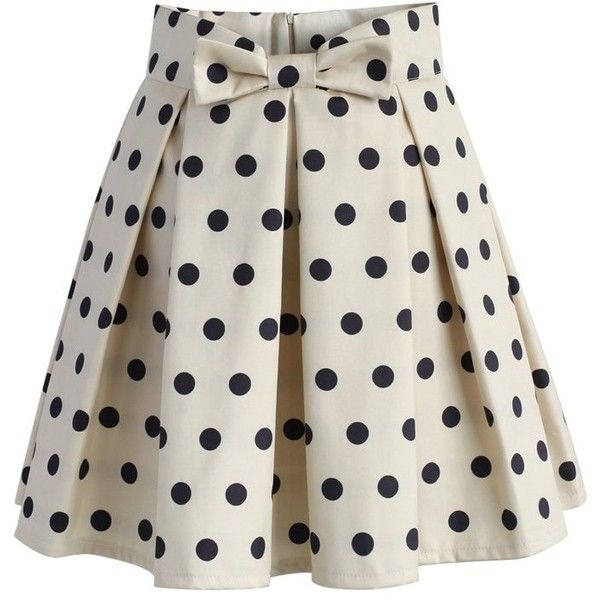 Chicwish Sweet Your Heart Polka Dots Skirt in Beige ($42) ❤ liked on Polyvore featuring skirts, beige, polka dot pleated skirt, knee length pleated skirt, bow skirt, pleated skirt and rayon skirt