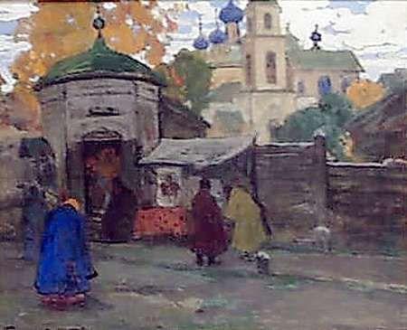 У церкви. Картон, смешанная техника, 47,5х58,5 - Горюшкин-Сорокопудов Иван Силыч