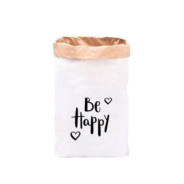 Aufbewahrungsboxen - Papiersack / Be Happy / Schwarz - ein Designerstück von Eulenschnitt bei DaWanda