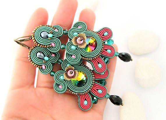 Emerald green chandelier earrings bohemian colorful earrings