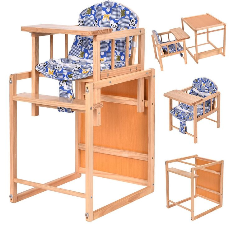 2 in 1 Solid Wooden Baby High Chair Feeding Infant Toddler Table Kids Child Home - Baby & Toddler Furniture - Furniture