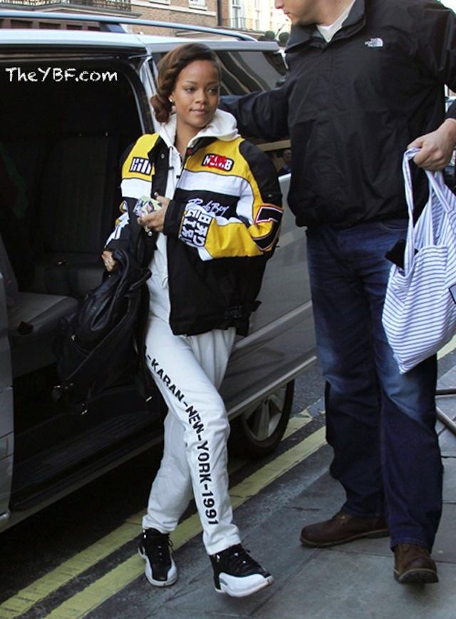5aaf2ab09adc Rihanna wearing Air Jordan XII « Playoffs »