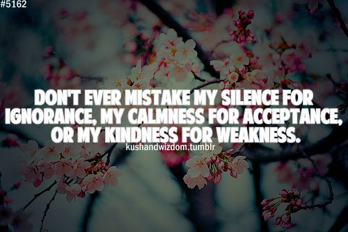 Don't Ever Mistake My Silence For Ignorance, My Calmness