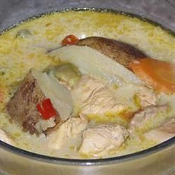 Curry Soup, A Whole Chicken Is Cut Up And Simmered With Potatoes ...