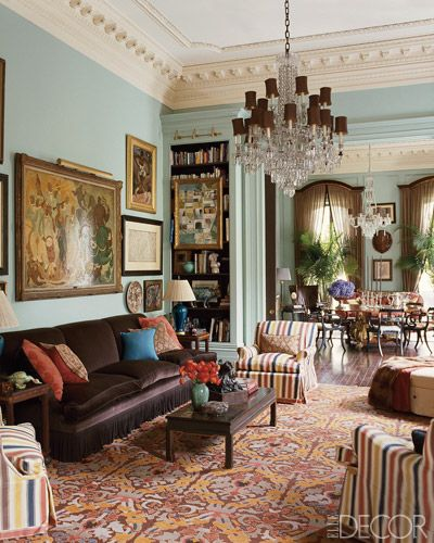 Richard Keith Langham.: Wall Colors, Blue Rooms, Keith Langham, Elle Decor, Piano Rooms, Living Rooms Ideas, Crowns Moldings, Richard Keith, Design Style
