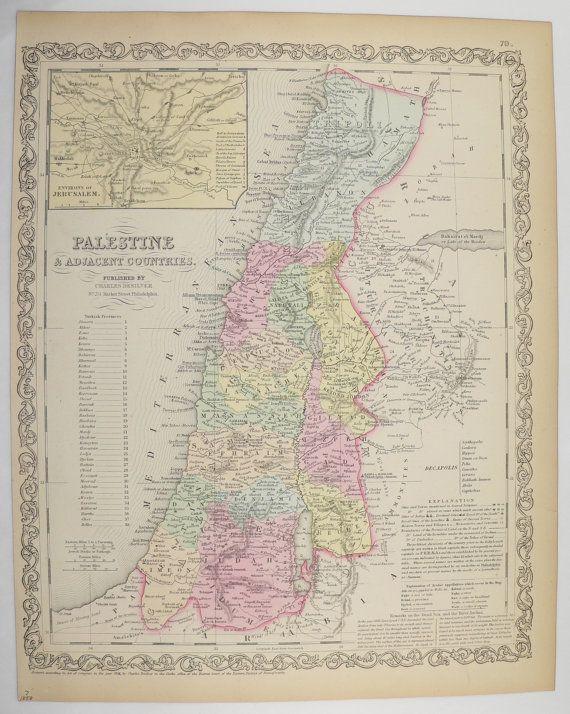 Antique Map Palestine 1858 Mitchell Map, Syria Lebanon Tripoli, Antique Art Map Gift, Historical Map, Holy Land Vintage Map Original by OldMapsandPrints on Etsy