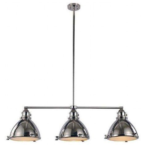 Luminaire suspendu rectangle triple en métal chrome avec verres diffuseur blanc givré en dessous. Idéal pour l'îlot, la cuisine ou la salle à manger. Tiges incluses: 2 X 12 pouces + 1 X 6 pouces.