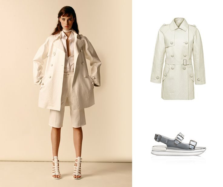 High shine. #HOGAN white Trench and metallic leather sandals from the Spring-Summer 2015 Collection. Take a look at this FASHION SHOW outfit.