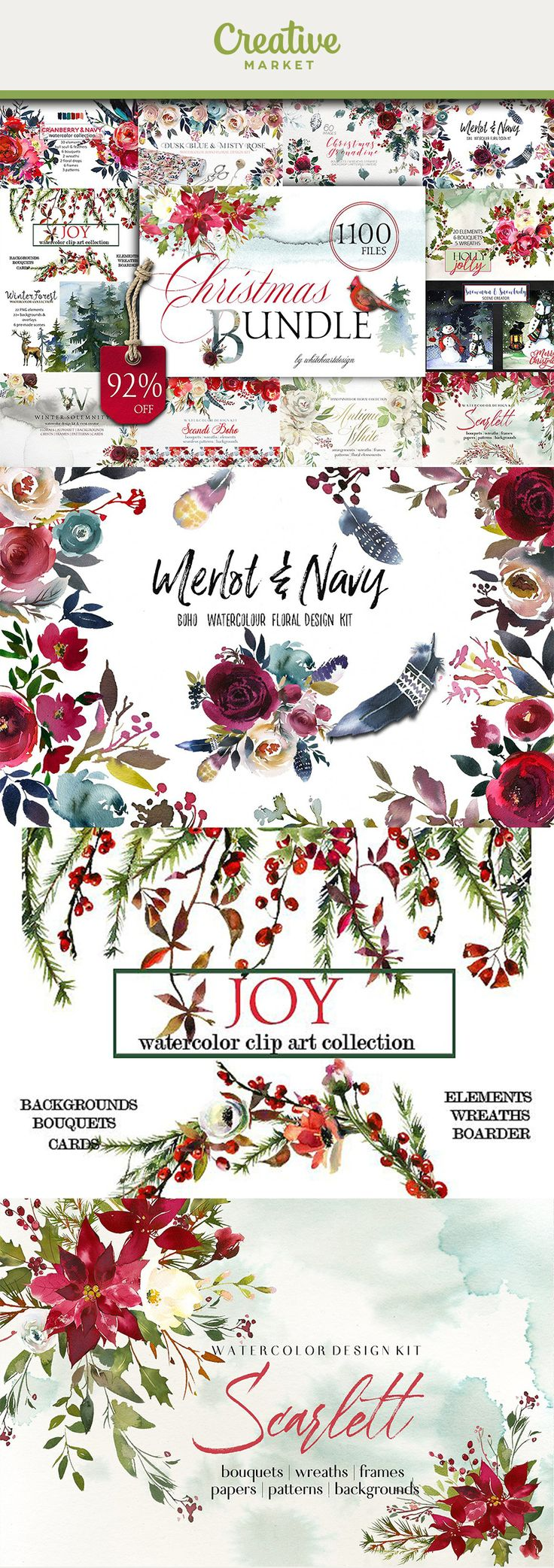 Ad | Christmas Watercolor Bundle - flowers, animals, landscapes, creator kits, patterns - 24 new and most popular winter clipart collections in one! Great for Christmas projects,wedding, baby shower invitation cards, greeting cards, printables, wall art, logo, web and blog designs, invitations and many more. Get now on Creative Market!