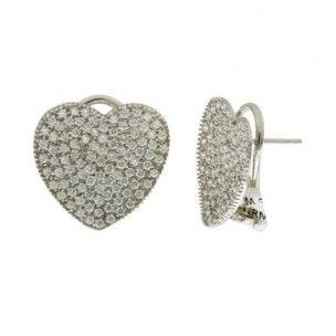http://www.joyeriake.es/230/pendientes-diamantes.jpg Pendientes Oro Blanco 18 Kilates corazon en cuajado de diamantes talla brillante. Cierre omega