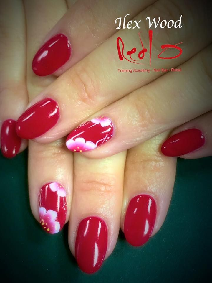 Red Nails using Gelish Hot Rod Red and One Stroke Nail Art. Bright Nails.