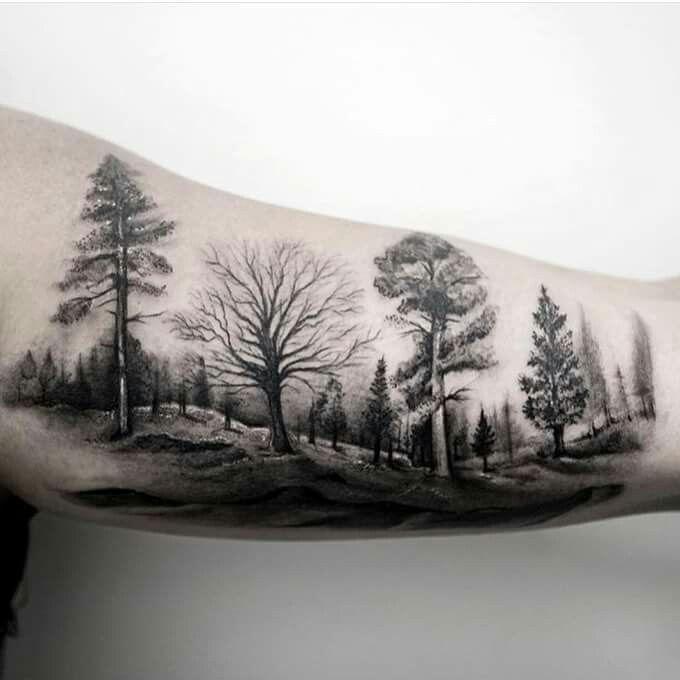 Tattoo Wald Bäume Natur Tree