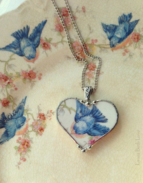 Broken china jewelry heart pendant necklace antique bluebird china