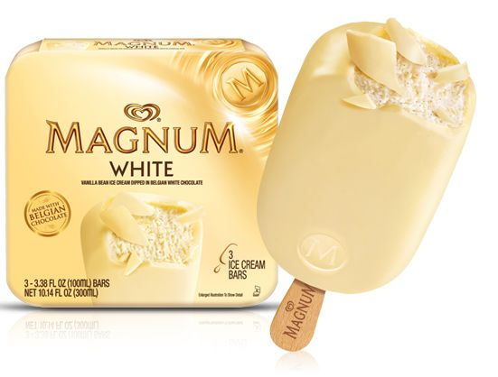 These Magnum ice cream bars made with Belgian chocolate are amazing.  Haven't had the white chocolate.  Mint isn't my favorite but I LOVE the rest of them.  I see they come in minis now, so I really should be eating those!