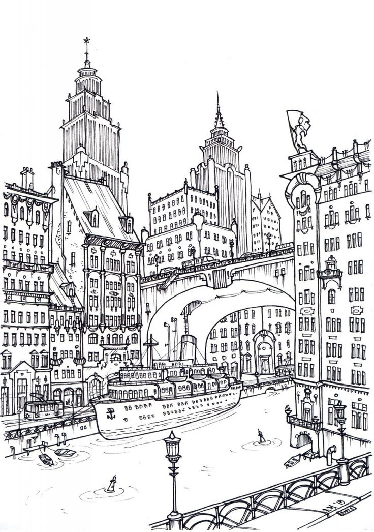 building coloring pages for adults - photo#9